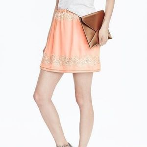 Banana Republic Peach Lace Mini Skirt XL